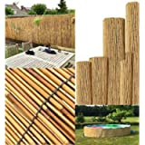 FlickBuyz Natural Peeled Reed Bamboo Garden Screening Privacy Fence Wide Panel Roll Sun Fencing (1m x 4m)