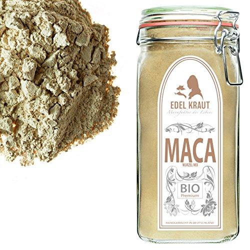 Super Smoothie Mix (EDEL KRAUT | BIO MACA-PULVER Premium Superfood MIX aus 100% MACAWURZEL (SCHWARZ, ROT und GELB) IM GLAS 700g)