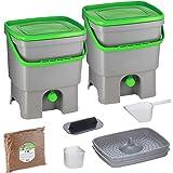 Skaza Bokashi Organko Set (2 x 16 L) Compostador 2X de Jardín y Cocina de Plástico Reciclado   Starter Set con Bokashi Organk