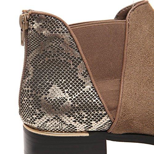 La Modeuse - Bottines Chelseagrandes tailles en simili daim, doté d'un empiècement brillant effet peau de croco Taupe