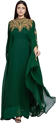 فستان نسائي طويل من دبي قفطان الفراشة قفطان قفطان باللون الأخضر مقاس موحد فستان سهرة بأكمام طويلة مع وشاح مجاني