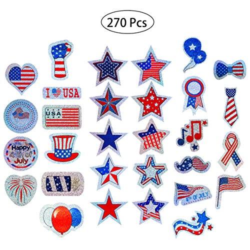 ufkleber Sortiment Glitzer temporäre Tattoos patriotische Spielzeug Neuheit Sortiment für 4. Juli Dekoration und patriotische Veranstaltungen Pack von 270 (30 Muster x 9 Stück) ()
