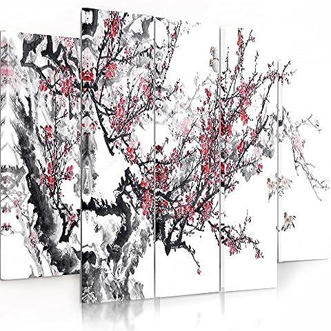 Feeby Frames, Cuadro en lienzo - 5 partes - Cuadro impresión, Cuadro decoración, Canvas (CEREZO JAPONÉS, BLANCO, ROJO, NEGRO) 100x200 cm, Tipo B