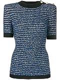 Balmain Damen Sf13002k464sbs Blau Viskose T-Shirt