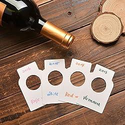 NOVSIX Étiquettes de Bouteille de vin de Livre Blanc - 200 étiquettes de cellier de Papier de Papier de Plaine de Compte