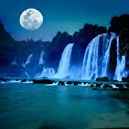 Pitaara Box Waterfall Under Moonlight Canvas Painting MDF Frame 28 X 28Inch