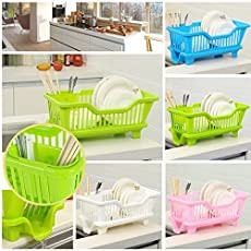 Baby Basket 3 in 1 Kitchen Sink Dish Drainer Drying Rack Washing Holder Large Plastic Basket Organizer with Tray (Plastic)