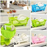 #10: Baby Basket 3 in 1 Kitchen Sink Dish Drainer Drying Rack Washing Holder Large Plastic Basket Organizer with Tray (Plastic)
