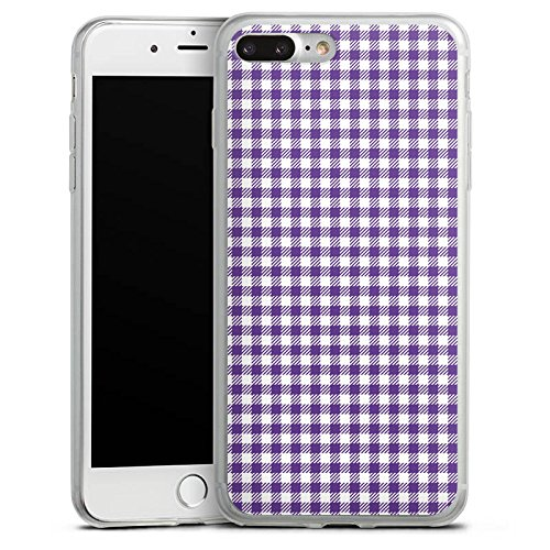 Apple iPhone 8 Slim Case Silikon Hülle Schutzhülle Karo Lila Muster Silikon Slim Case transparent