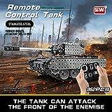 Fcostume Mofun Edelstahl Montage Ferngesteuerter Panzer Militärfahrzeug RC Auto Spielzeuge (Grau)