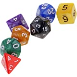 MagiDeal Lot 7pcs Dés Nombres Multifaces Multicolores Dice D4-D20 en Acrylique pour D&D RPG Jeux de Table - # 4