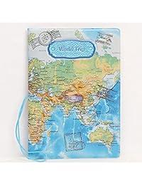 kangqi cuero mundo mapa para pasaporte ID tarjeta Ticket Travel bag-blue