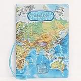 Andensoner PU copertura della mappa del mondo passaporto di biglietto borsa da viaggio (14x 9.6cm)