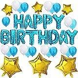 KUNGYO Set di Decorazione di Festa di Compleanno Sveglia-Bandiera Blu di Palloncino di Happy Birthday Lattice Balloons Stella Forniture Brillanti della Festa di Compleanno per Ragazzo e Bambini