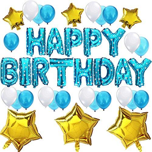 """KUNGYO Decoración de Fiesta de Cumpleaños Lindo Conjunto-Letras Tipo Balón Azul """"Happy Birthday""""+21 Piezas Globo de Látex+6 Piezas Estrella-Brillante Cumpleaños Partido Fuentes para niño"""