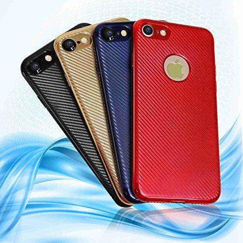"MOONCASE iPhone 7/iPhone 8 Hülle, Carbon Fiber Flexible Rüstung Handyhülle Ultra Slim Fallschutz Anti-Scratch Schutztasche Case für iPhone 8 4.7"" Red Blau"