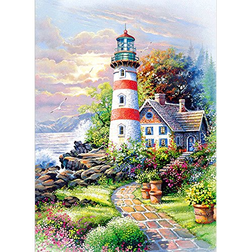 DIY 5D Diamond Painting, Crystal Rhinestone Diamond Embroidery Paintings Pictures Arts Craft for Home Wall Decor Lighthouse Hut 11.8 X 15.7 Inch