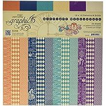 """Graphic 45de la medianoche máscaras 12x 12""""Patterns & Solids Paper Pad, Multicolor"""