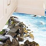 Pavimento Adesivo Topgrowth Adesivi Murali 3D Mare Removibile Decalcomanie Murali Wall Sticker Soggiorno Bagno Decori (A)