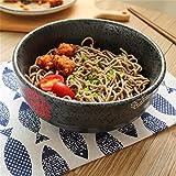 Grande soupe Ramen Noodle Bowl Salade de fruits Pasta Serving bol à mélanger Creative vaisselle en céramique peinte à la main micro-ondes Safe 7 pouces noir