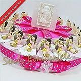 Gastgeschenke arrangiert in Tortenform, Schlüssel mit Mädchenfigur, mit Schachtel und Schokodragees, für religiöse Feierlichkeiten Torta da 20 fette