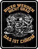 Biker werden nicht grau - das ist chrom - Geprägter Blechmagnet - Größe 7x9
