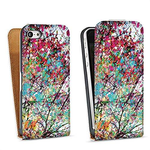 Apple iPhone 5 Housse Étui Silicone Coque Protection Feuilles couleurs Printemps Sac Downflip blanc