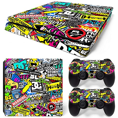 Sony PS4 Playstation 4 Slim Skin Design Foils Sticker Set - Hoonigan Motivo