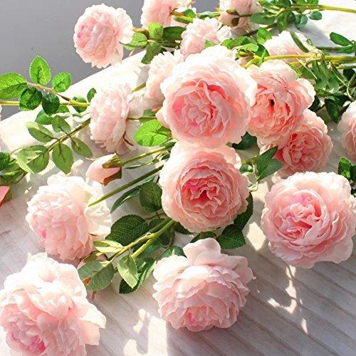 htmeing 3Köpfe Seide Pfingstrosen Künstliche Blumen Fake Sträuße Arrangement für Home Dekoration rose (Betta Fisch Blume)