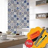 Walplus Entfernbarer selbstklebend Wandkunst Aufkleber Vinyl Wohndeko DIY Wohnzimmer Schlafzimmer Küche Dekor Tapete Vintage Spanish Mosaik Wand Fliesen Aufkleber 48 stk. 15cm x 15cm