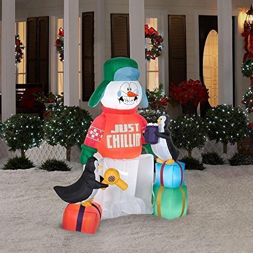 5.5 Ft Tall Outdoor Animated Inflatable Shivering Snowman & Penguin w/ Light | Lawn or Yard Christmas Decor | Great Accent to Other Seasonal Figures or Holiday Display | Perfect Ornament By the Tree by CHRISTMAS INFLATABLES At The Neighborhood Corner Store (Christmas Tree Ornament Animated)