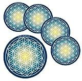 Energie Untersetzer Blume des Lebens / Flower of Life + Buddha Geschenkkarte - Yoga Esoterik Spiritualität Astrologie Meditation Energie