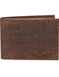 Lederbörse Portemonnaie Geldbörse Brieftasche Geldbeutel im Querformat aus hochwertigem Leder mit Veredelung in Farben Schwarz Braun Cognac von URBAN FOREST