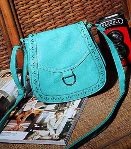 YouPue Damen Handtasche Umhängetasche Schultasche Damenhandtaschen Tragetaschen Pu-Leder Retro Kuriertasche Grün
