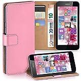 moex Nokia Lumia 630 | Hülle Rosa mit Karten-Fach 360° Book Klapp-Hülle Handytasche Kunst-Leder Handyhülle für Nokia Lumia 630/635 Dual SIM Case Flip Cover Schutzhülle Tasche
