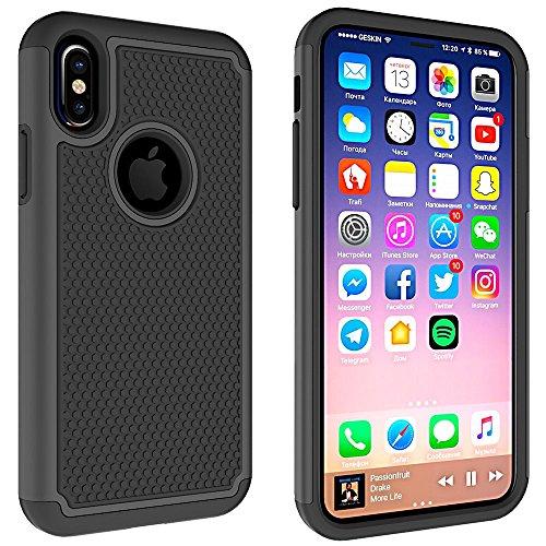 Handy Schutzhülle für Apple iPhone X 10 5.8 Zoll | ANTI-RUTSCH Case | SCHWARZ Genopptes 360° Full Cover HYBRID Design TPU Plastik Schutz Hülle Rutschfest Schwarz