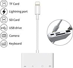 4d Apple 4-in-1 Lightning to SD Card Reader OTG Adapter Cable for iPhone and iPad (White, MD822ZM/A)