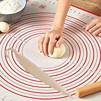 Silicon mat 60 * 40 for dough, bakery, cake, pies and pizza, including an illustrated graphic of the sizes and basic sizes of pizza, cake and pies, ease of use of the rotating stick on them