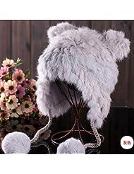 Qiaoba- Protection de l'oreille de l'hiver, plus un chapeau de paille en cuir tricotant en laine de lapin