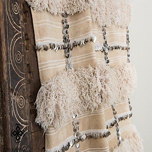 handira | Marokkanische Hochzeit | Vintage Decke handira tamizart Überwurf Teppich. Reine Wolle mit Pailletten. Handgewebte Unikate groß 189cm x 111cm (Marokkanische Sofa Decke)
