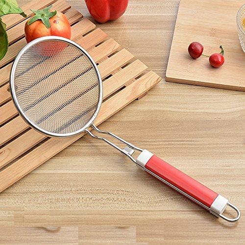Schaumlöffel-Edelstahl Fine Mesh Sieb mit Verbrühungsschutz Lange Griff für Food Kitchen Kochen Fett Öl Filter Kunststoff abschöpfen Fett und Schaumstoff - Edelstahl Fett-filter