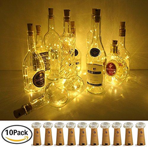 Weinflasche Lichter mit Kork, 10er Batterie betrieben LED Kork Form Silber Kupferdraht bunte Fee Mini Lichterkette für DIY, Party, Dekor, Weihnachten, Halloween, Hochzeit (Warm Weiss)