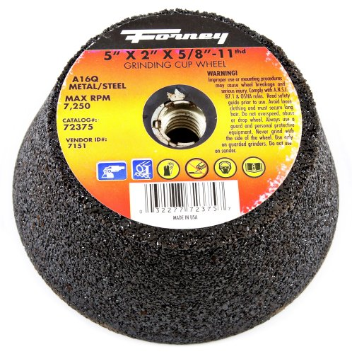 Forney 72375Schleifteller, Typ 11Flared Metall mit 5/8-inch-11Gewinde Arbor, A16Q, 5-inch-by-2-inch - Arbor Lager