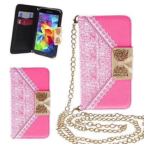 Xtra-Funky Esclusivo PU cuoio del modello del merletto e fiocco dorato di vibrazione di caso della copertura della borsa con la carta di credito e denaro slot e staccabile Catenina d'oro per Samsung Galaxy S5 Mini - Rosa
