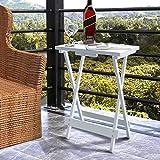 Lifewit Mesa Auxiliar Plegable Portátil,De Madera,Ideal Para Merienda,Café,Leer,En Salón,Dormitorio,Terraza,Patio,Playa,Blanco