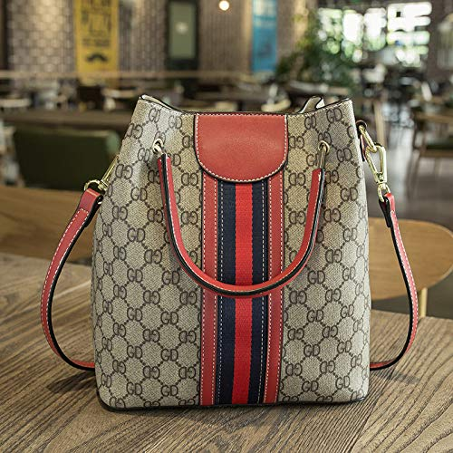 LFGCL Bags womenPrinted Bucket Bag Hits The Color Ribbon Point for a Reliable Handbag, red (Wickeltasche Pink Tote Bag)