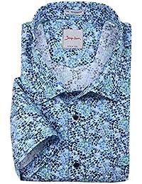 XXL Signum Kurzarmhemd mit blau-grünem Alloverprint