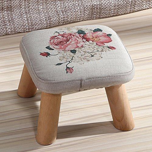 Dana Carrie En d'autres selles banc de chaussures sur une table basse tabouret bas en bois massif et tissus adultes enfants créatifs élégante petite chaise canapé tabouret rond, président - pivoines