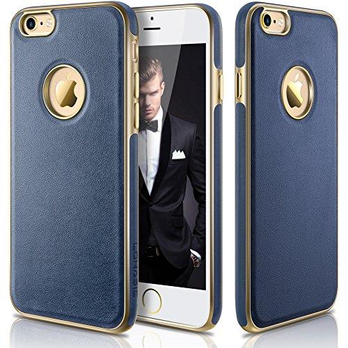 iPhone 6s Hülle,[Neu Hybrid ] [Premium Textur Leder] Schutzhülle [Slim Fit ] [Metallplatte innen]- Für iPhone 6s (2015) & iPhone 6 (2014) – 4.7 Zoll (Blau) (Iphone 6 Ersatz-bildschirm Blau)