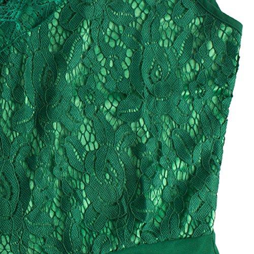 Sue&Joe Damen Empire Kleid, Geblümt Grün - Grün